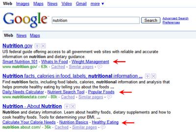 New Google Sitelinks